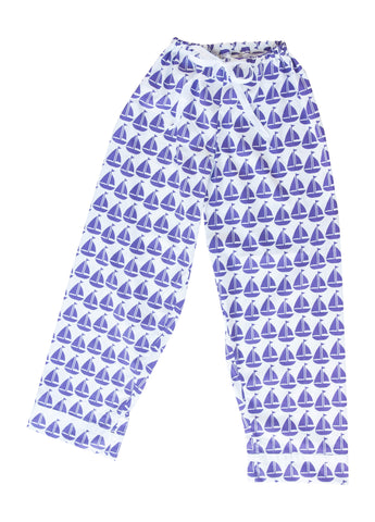 Pajama Pants - Purple Sailboat