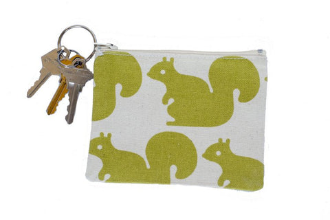 Coin Purse/Keychain - Green Squirrel