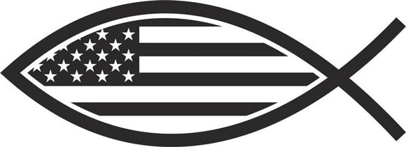 Christian  Fish USA Vinyl Decal