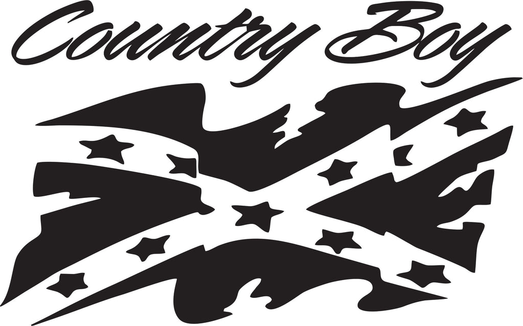 Country Boy with Rebel Flag Vinyl Decal Sticker Label