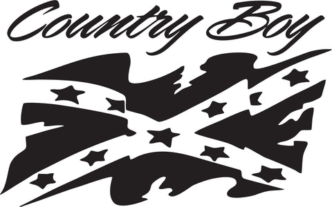 Country Boy with Rebel Flag Vinyl Decal
