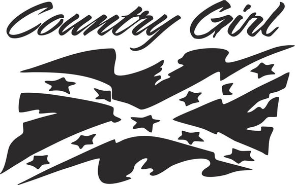 Country Girl with Rebel Confederate Flag Vinyl Decal