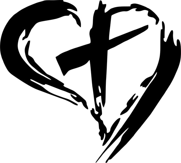 Cross with Heart Vinyl Decal