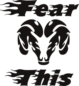 Dodge Fear This Flames Vinyl Decal