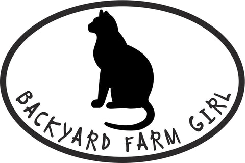 Backyard Farm Girl Cat Vinyl Decal