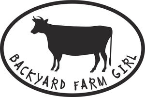 Backyard Farm Girl Cow Vinyl Decal