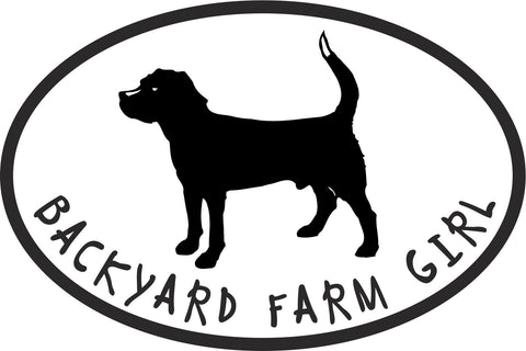 Backyard Farm Girl Dog Vinyl Decal