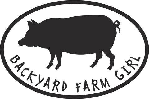 Backyard Farm Girl Pig Vinyl Decal