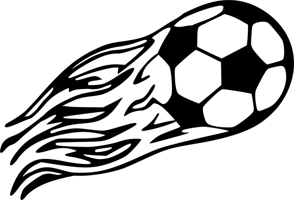 Flaming Soccer Ball Vinyl Decal