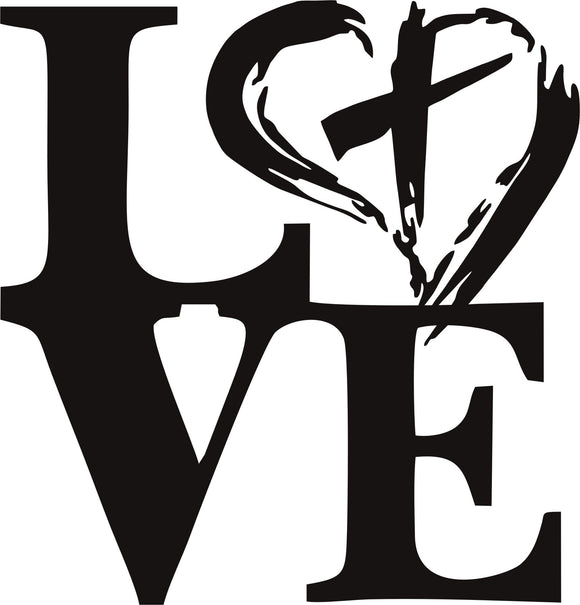 Love Heart with Cross Christian religious vinyl decal