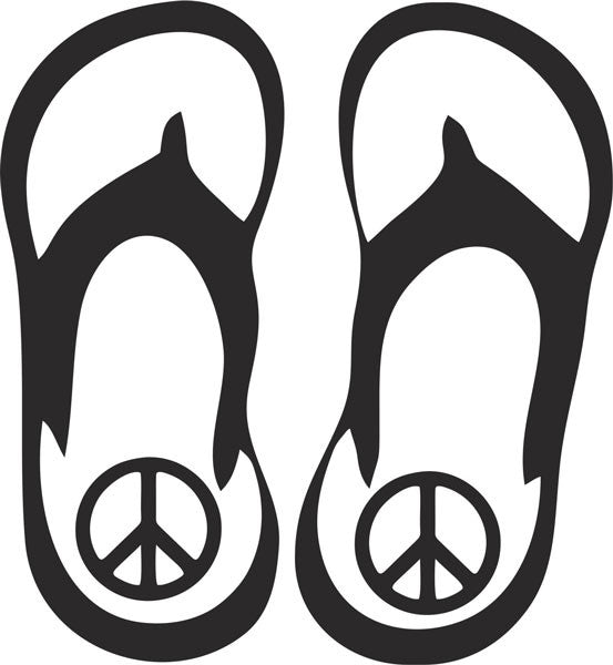 Flip Flop Peace Vinyl Decal
