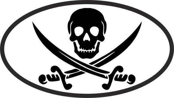 Pirate Oval Vinyl Decal