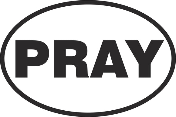 Pray Oval Vinyl Decal