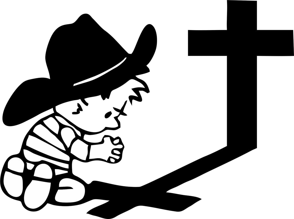 Cowboy Child Saying Prayers At Cross Vinyl Decal Sticker Label