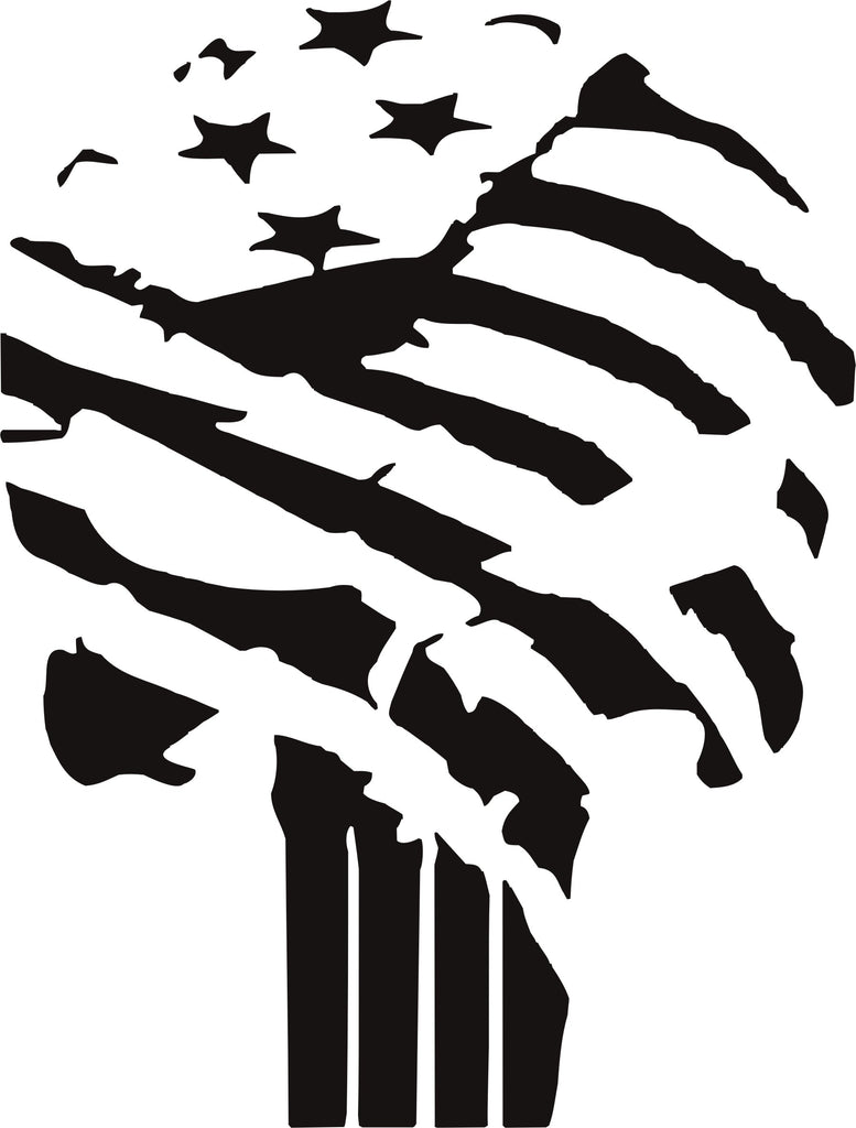 Punisher US Flag Distressed Vinyl Decal