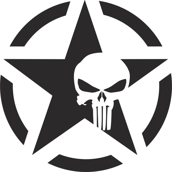Jeep Willy Army Star Punisher Vinyl Decal Decals N More