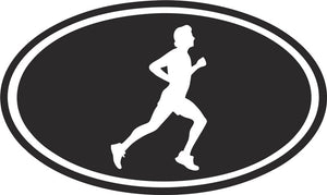 Running Man Oval Vinyl Decal