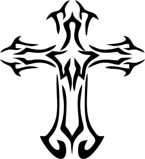 Tribal Cross Vinyl Decal Sticker Label