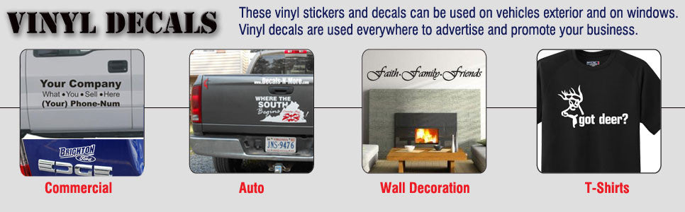 Vinyl Decals for Commercial, Auto, Wall Decoration and T-Shirts