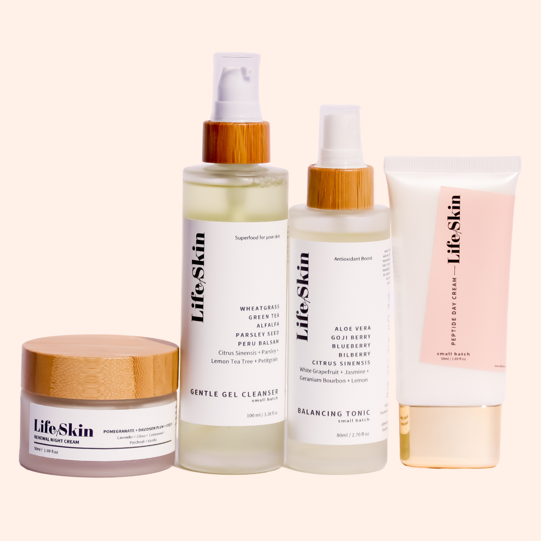 Life of Skin Basic Skin Care Bundle Set. Gentle gel Cleanser, Balancing Tonic, Peptide Day Cream and Renewal Night Cream. Cleanser, Toner and Moisturisers to start your skin care routine.