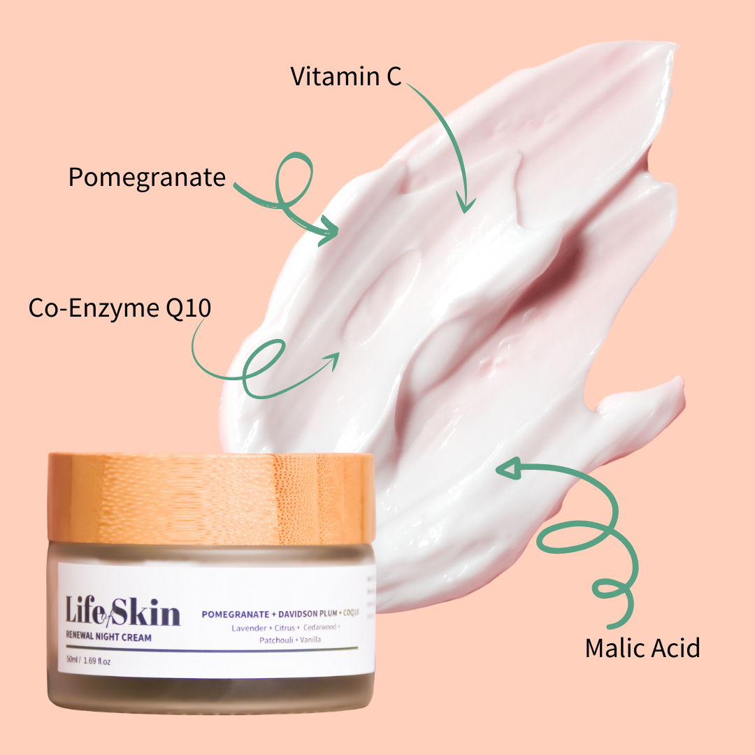 Life of Skin Natural Australian Skin Care. Renewal Night Cream moisturiser with CoQ10, Vitamin C, Pomegranate and Malic Acid.. Vegan, cruelty-free, non-toxic skin care.