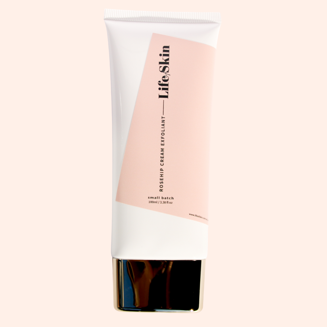 Rosehip Cream Exfoliant Natural Skin care made in Australia. Life of Skin Skin care products are vegan, sustainable, non-toxic and cruelty free. Shop natural skin care products at Life of Skin.