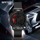 SANDA Wheel Series Dial Men Watch Steel Strap Magnetic Hook Buckle