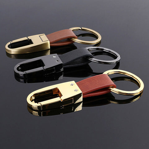 Car Classic Leather Keychains Waist Holder Alloy Key Ring High Quality Open Buckle
