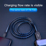 B-US LED Glow USB Cable For iPhone Flat Flowing 2.4A Data Sync Cable Fast Charging