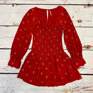 Primary Photo - BRAND: FREE PEOPLE STYLE: DRESS SHORT LONG SLEEVE COLOR: RED BLACK SIZE: M OTHER INFO: SMOKED/BALOON SLEEVE SKU: 217-217104-39011
