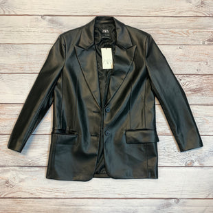 Primary Photo - BRAND: ZARA WOMEN STYLE: JACKET OUTDOOR COLOR: BLACK SIZE: S OTHER INFO: NEW! FAUX LEATHER SKU: 217-217104-34173