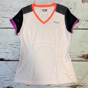 Primary Photo - BRAND: FILA STYLE: ATHLETIC TOP SHORT SLEEVE COLOR: WHITE BLACK SIZE: M OTHER INFO: NEON TRIM SKU: 217-217193-730