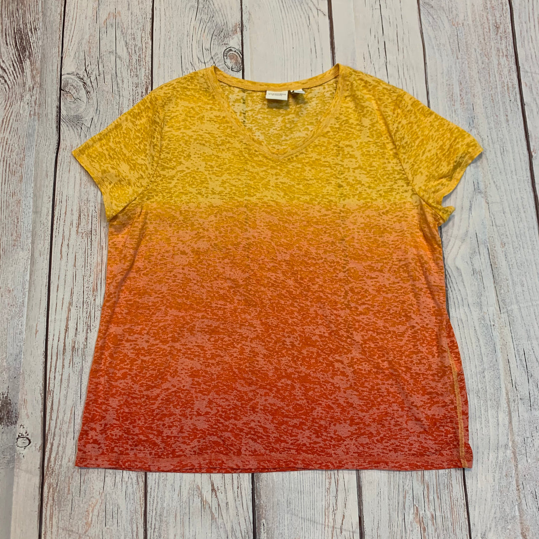 Primary Photo - <P>BRAND: CHICOS <BR>STYLE: TOP SHORT SLEEVE</P> <P>SIZE: 3<BR>OTHER INFO: YELLOW/ORANGE <BR>SKU: 217-217182-6316</P>