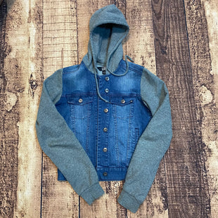 Primary Photo - BRAND: LUESTYLE: JACKET OUTDOOR COLOR: DENIM SIZE: S OTHER INFO: LUE - GREY HOOD/SLEEVES SKU: 217-217182-4140