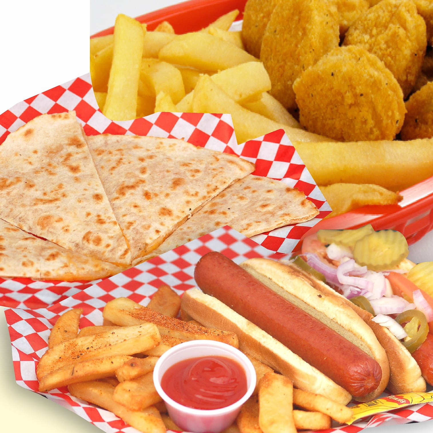 Cheese quesadilla, hot dog combo, and chicken nuggets servied with fries