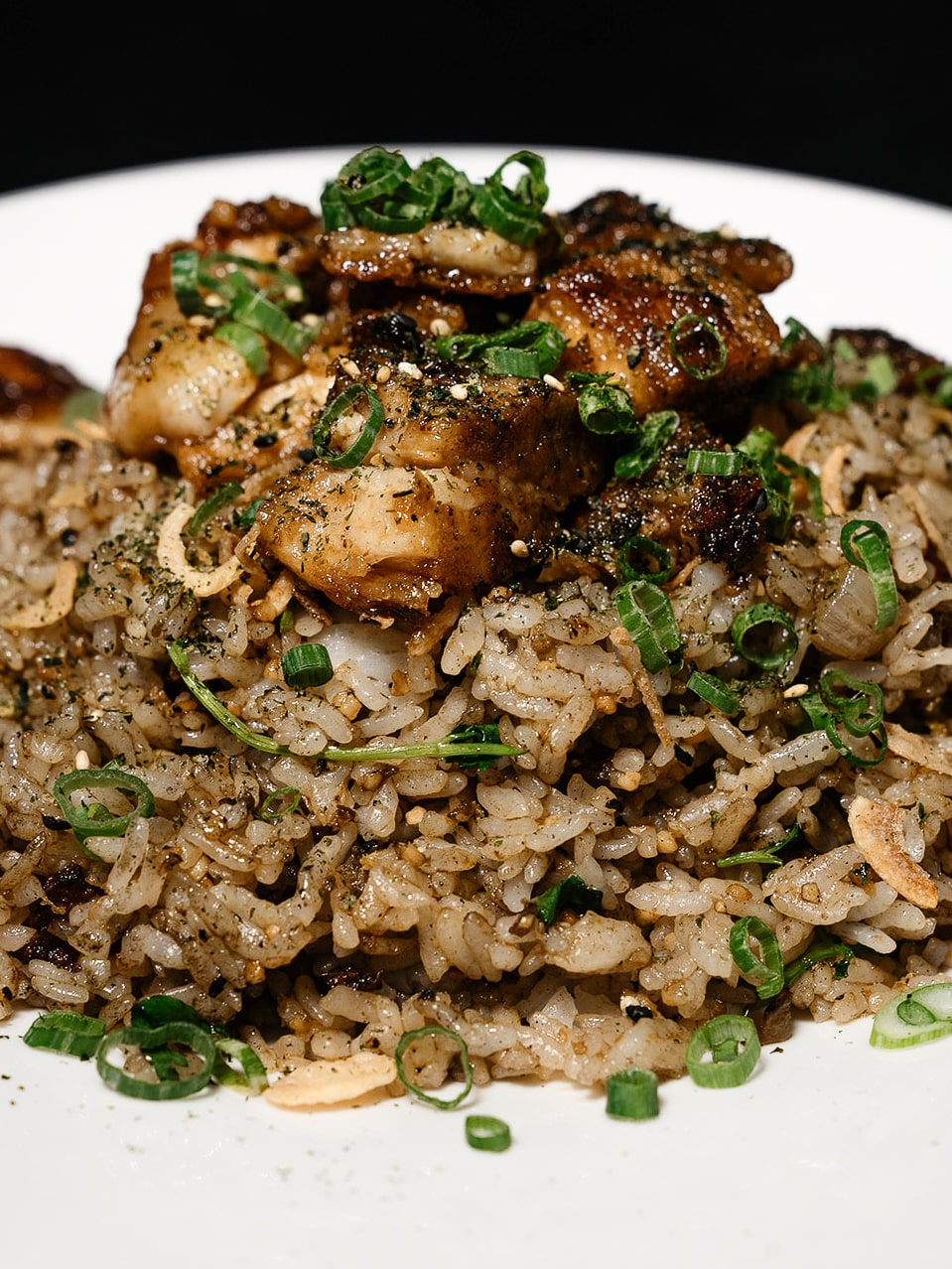 Pork Belly Fried Rice with green onions
