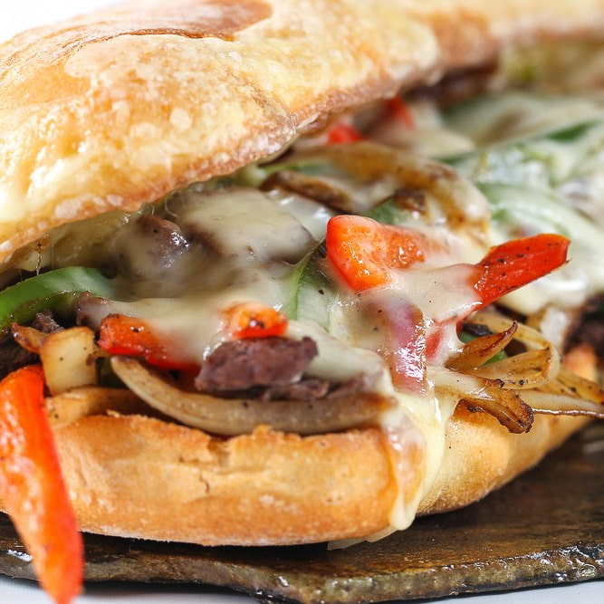 Glendale Arizona Philly Cheese steak with bell peppers, onions and melted cheese