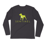 Sentinel Men's Long Sleeve Fitted Crew, Dog Lovers Cloths, Dog Rescue T shirt, Pit Bull Clothing, Sentinel Clothing Brand,