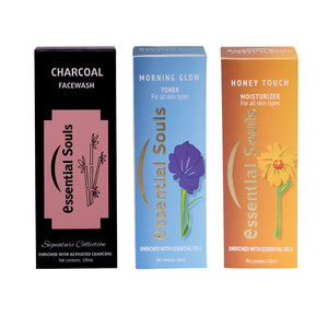 Essential Souls Charcoal Facewash, Morning Glow Toner and Honey Touch Moisturiser/Cleansing Toning Misturising Kit(CTM)