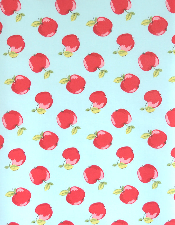 Cotton Fabric Apples Seafoam