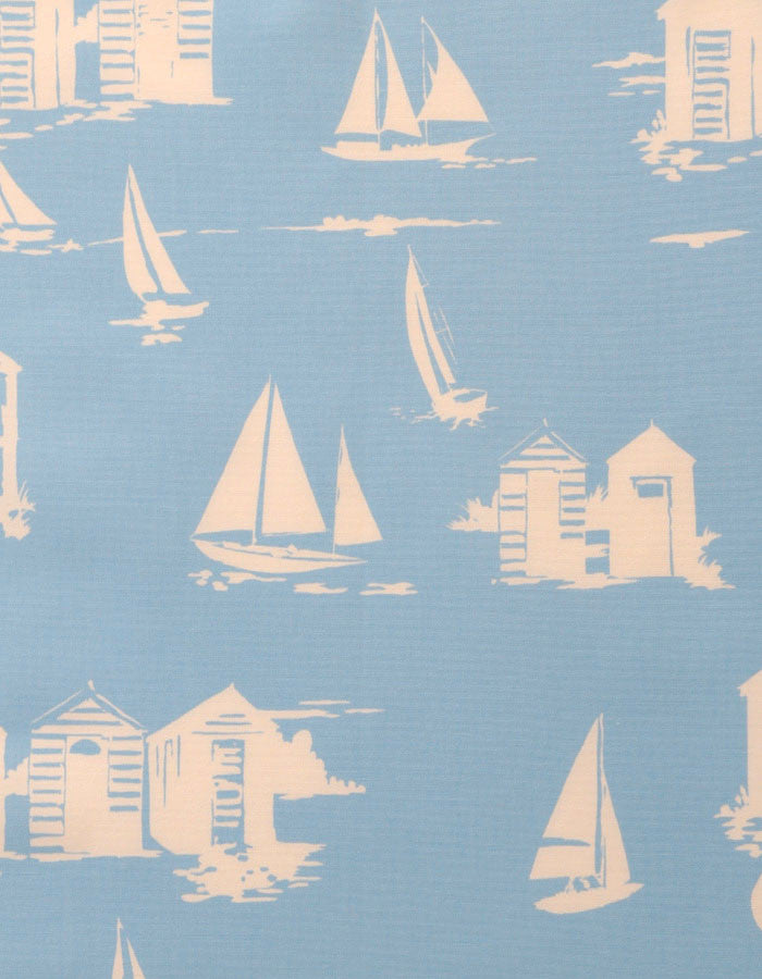 Cotton Fabric Beach Huts Blue