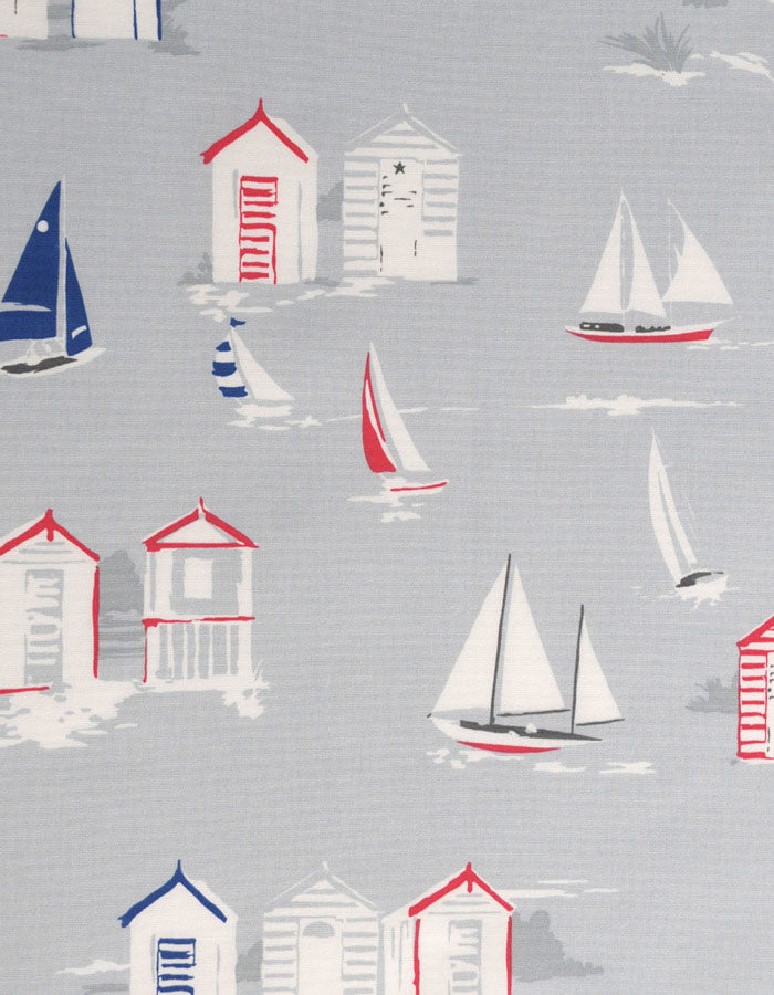 Cotton Fabric Beach Huts Grey