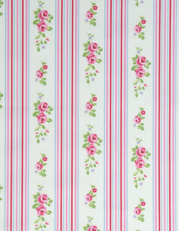 Cotton Fabric Floral Stripe Chintz