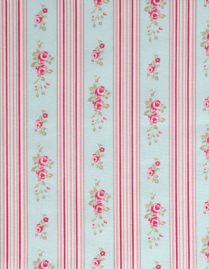 Cotton Fabric Floral Stripe Duckegg