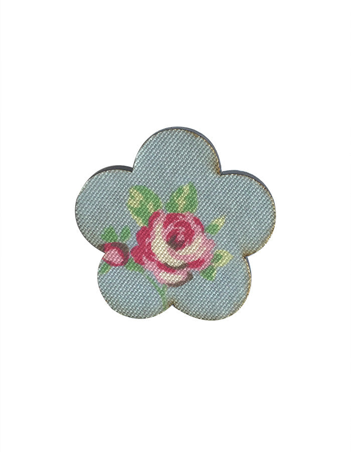 MYstyle Brooch Flower Rosebud Blue