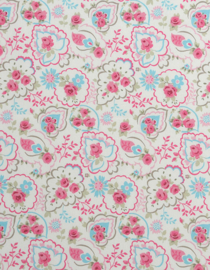 Cotton Fabric Paisley Rose Pink