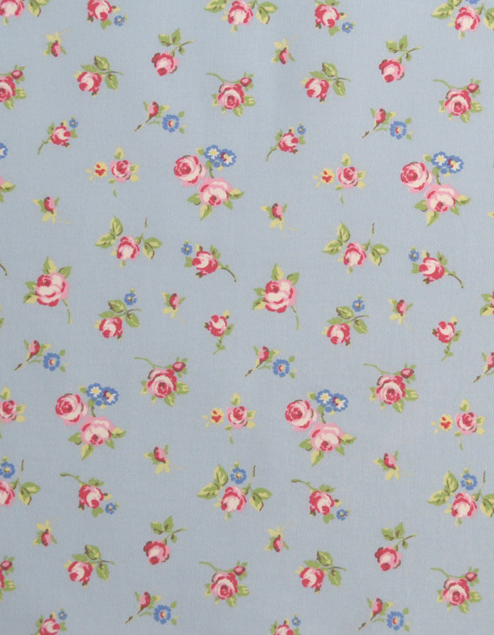 Cotton Fabric Rosebud Powder Blue