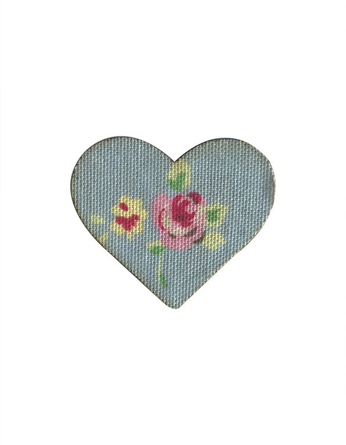 MYstyle Brooch Heart Rosebud Blue