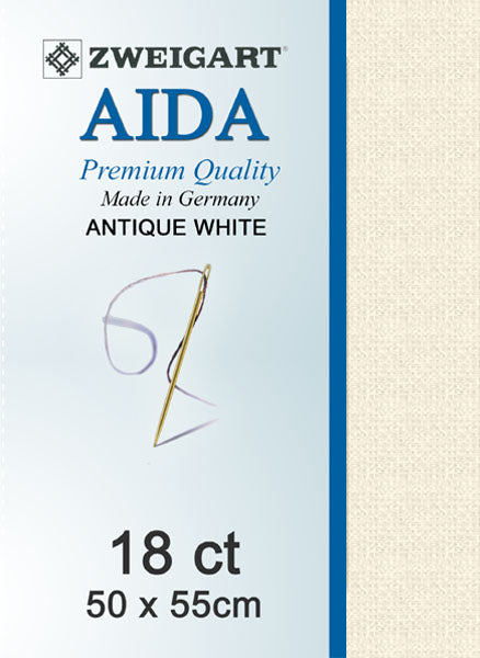 Zweigart Linen, Aida 18CT -  ANTIQUE WHITE 101