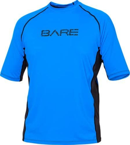 Bare Mens Short Sleeve Sunguard (Blue, 2X-Large)